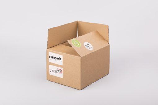 kis doboz, hullámkarton doboz, papírdoboz gyártás, kartondoboz webáruház, öntapadó címke, saját logóval nyomtatott matrica, köszönjük matrica