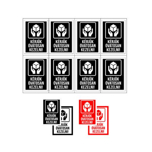 óvatosan kezelni matrica, öntapadó címke, elektronikai eszközt csomagolnék, öntapadó matrica, biztonsági címke, csomagküldés