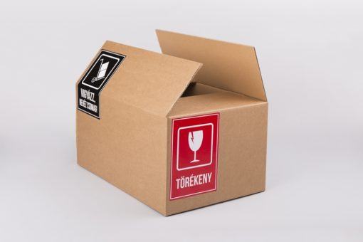 matrica eladó, doboz vásárlás, törékeny matrica, nehéz csomag matrica, hullámpapír doboz ár