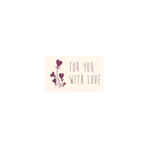 öntapadó, for you with love matrica, kommunikációs címke, csomagolóanyag webshop