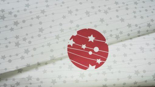 karácsonyi csomagolópapír, nyomtatott csomagolópapír, matrica