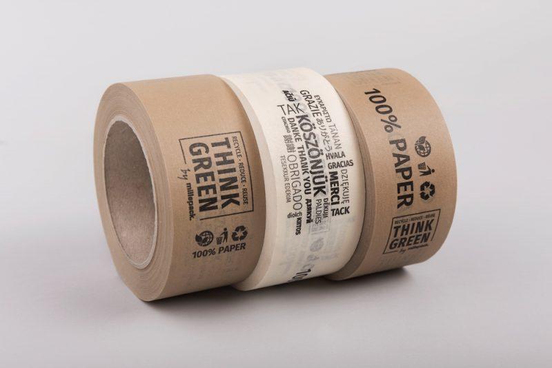 Papír ragasztószalag | köszönjük - think green - 100% paper - BARNA
