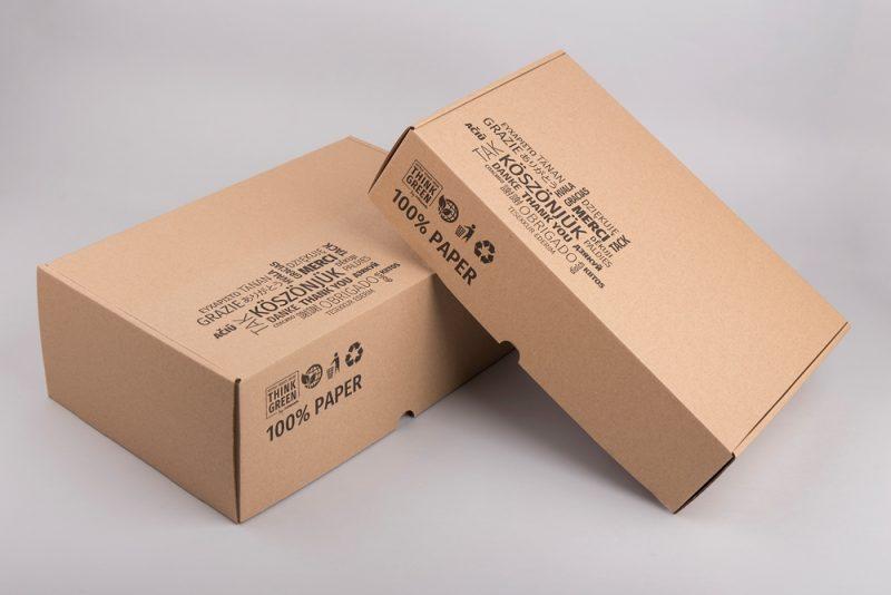 Nyomtatott kartondoboz barna 330×220×120 mm méretben Think Green