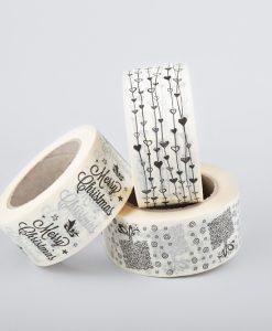 Papír ragasztószalag | ajándékdoboz - fűzött szív - christmas - TÖRTFEHÉR